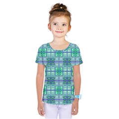 Mod Blue Green Square Pattern Kids  One Piece Tee
