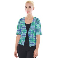 Mod Blue Green Square Pattern Cropped Button Cardigan