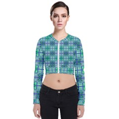 Mod Blue Green Square Pattern Zip Up Bomber Jacket