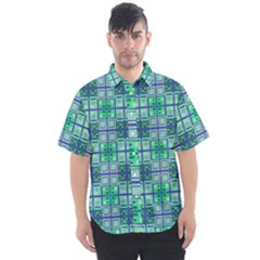 Mod Blue Green Square Pattern Men s Short Sleeve Shirt