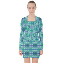 Mod Blue Green Square Pattern V Neck Bodycon Long Sleeve Dress