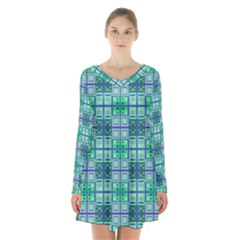 Mod Blue Green Square Pattern Long Sleeve Velvet V Neck Dress