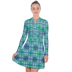 Mod Blue Green Square Pattern Long Sleeve Panel Dress