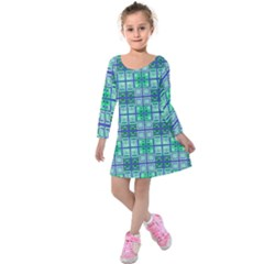 Mod Blue Green Square Pattern Kids  Long Sleeve Velvet Dress