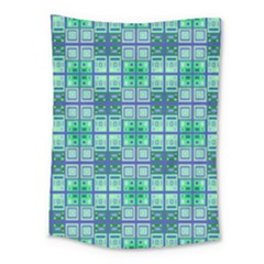 Mod Blue Green Square Pattern Medium Tapestry