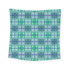 Mod Blue Green Square Pattern Square Tapestry (small)
