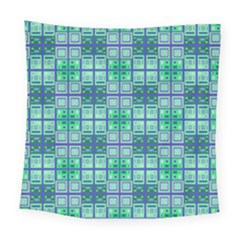 Mod Blue Green Square Pattern Square Tapestry (large)