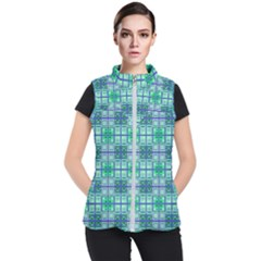 Mod Blue Green Square Pattern Women s Puffer Vest