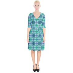 Mod Blue Green Square Pattern Wrap Up Cocktail Dress