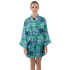 Mod Blue Green Square Pattern Long Sleeve Kimono Robe by BrightVibesDesign