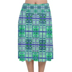 Mod Blue Green Square Pattern Velvet Flared Midi Skirt