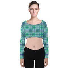 Mod Blue Green Square Pattern Velvet Long Sleeve Crop Top by BrightVibesDesign