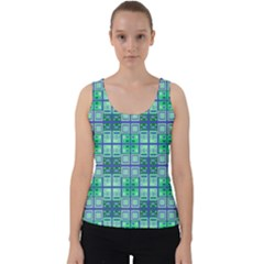 Mod Blue Green Square Pattern Velvet Tank Top by BrightVibesDesign