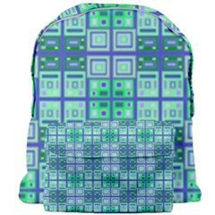 Mod Blue Green Square Pattern Giant Full Print Backpack