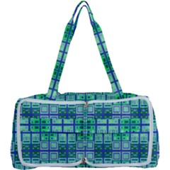 Mod Blue Green Square Pattern Multi Function Bag
