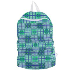 Mod Blue Green Square Pattern Foldable Lightweight Backpack
