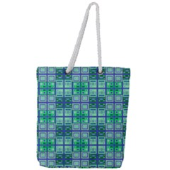 Mod Blue Green Square Pattern Full Print Rope Handle Tote (large)