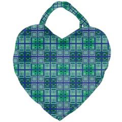 Mod Blue Green Square Pattern Giant Heart Shaped Tote