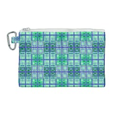 Mod Blue Green Square Pattern Canvas Cosmetic Bag (large)
