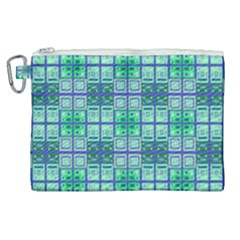 Mod Blue Green Square Pattern Canvas Cosmetic Bag (xl)