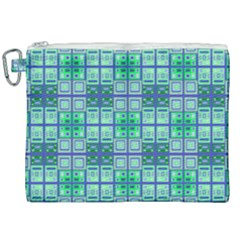Mod Blue Green Square Pattern Canvas Cosmetic Bag (xxl)