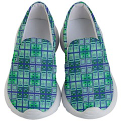Mod Blue Green Square Pattern Kid s Lightweight Slip Ons