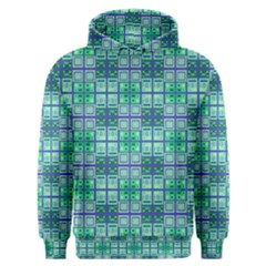 Mod Blue Green Square Pattern Men s Overhead Hoodie