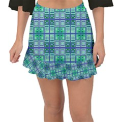 Mod Blue Green Square Pattern Fishtail Mini Chiffon Skirt