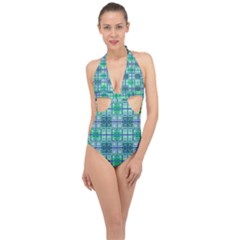 Mod Blue Green Square Pattern Halter Front Plunge Swimsuit