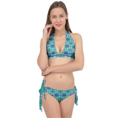 Mod Blue Green Square Pattern Tie It Up Bikini Set