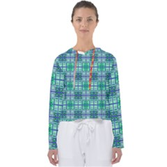 Mod Blue Green Square Pattern Women s Slouchy Sweat
