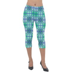 Mod Blue Green Square Pattern Lightweight Velour Capri Leggings