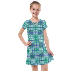 Mod Blue Green Square Pattern Kids  Cross Web Dress