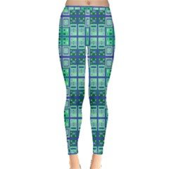 Mod Blue Green Square Pattern Inside Out Leggings