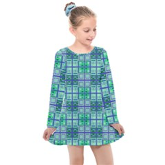Mod Blue Green Square Pattern Kids  Long Sleeve Dress
