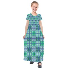 Mod Blue Green Square Pattern Kids  Short Sleeve Maxi Dress