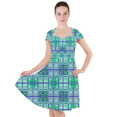 Mod Blue Green Square Pattern Cap Sleeve Midi Dress
