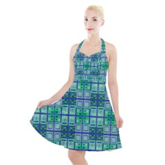 Mod Blue Green Square Pattern Halter Party Swing Dress