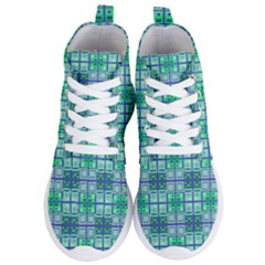 Mod Blue Green Square Pattern Women s Lightweight High Top Sneakers