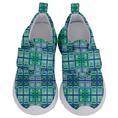 Mod Blue Green Square Pattern Velcro Strap Shoes