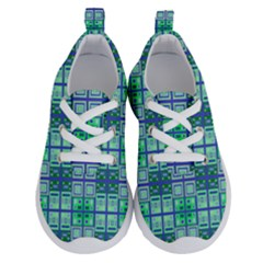 Mod Blue Green Square Pattern Running Shoes