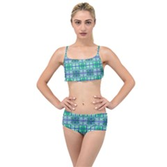 Mod Blue Green Square Pattern Layered Top Bikini Set