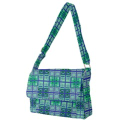 Mod Blue Green Square Pattern Full Print Messenger Bag