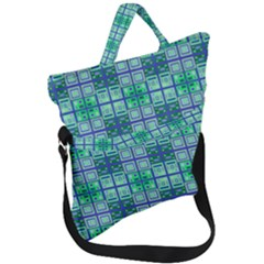 Mod Blue Green Square Pattern Fold Over Handle Tote Bag