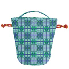 Mod Blue Green Square Pattern Drawstring Bucket Bag