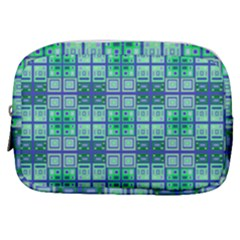 Mod Blue Green Square Pattern Make Up Pouch (small)