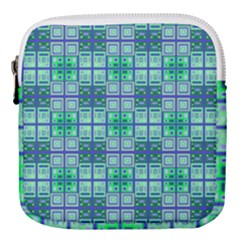 Mod Blue Green Square Pattern Mini Square Pouch