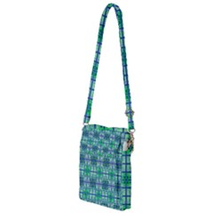 Mod Blue Green Square Pattern Multi Function Travel Bag