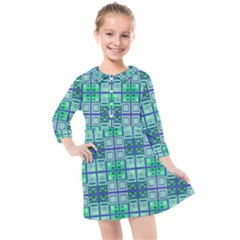 Mod Blue Green Square Pattern Kids  Quarter Sleeve Shirt Dress