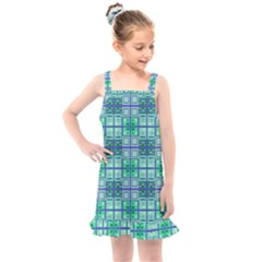Mod Blue Green Square Pattern Kids  Overall Dress